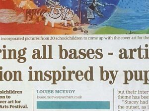 Headline for Royston Crow article about how Stacey Leigh Ross incorporates the artwork of 20 children into the Royston Arts Festival Programme Cover