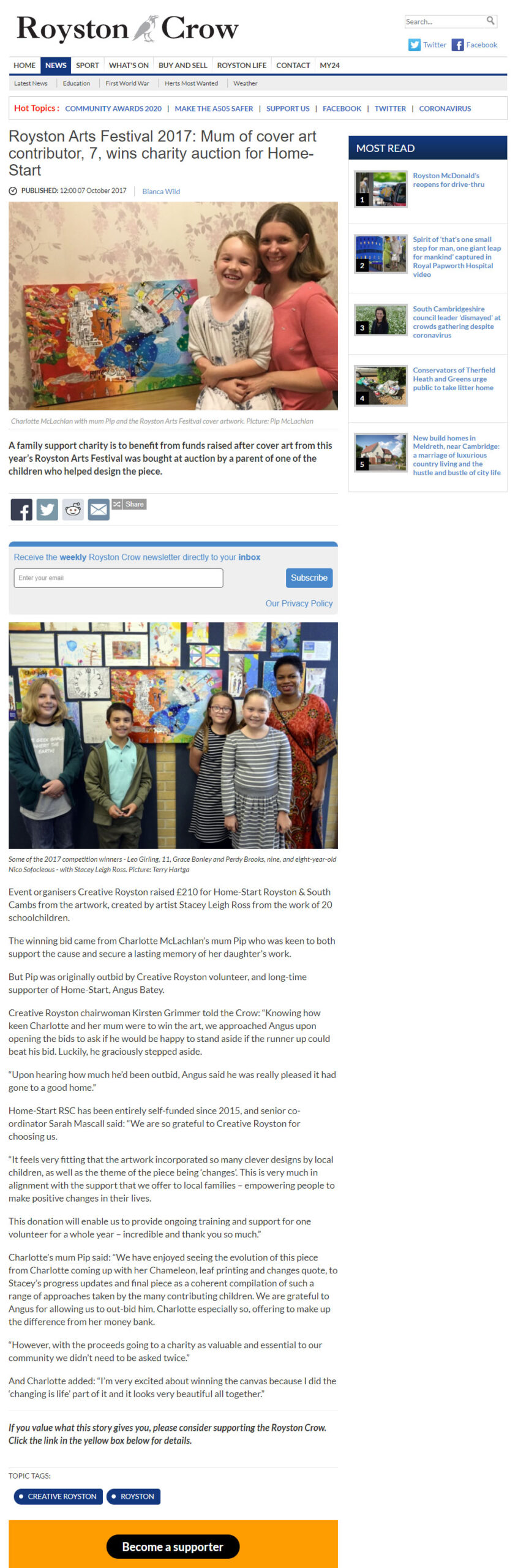 Royston article about the auction winners of By Leigh's mixed media art for Royston Arts Festival programme cover