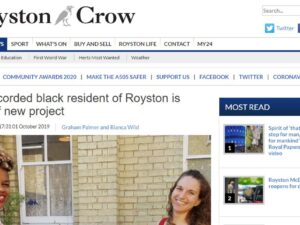 Headline for Royston Crow's article about the Roger Britten project which research Roysto's first recorded Black Man. By Leigh was commission to do Roger's Life Story Art