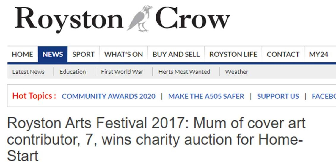 Headline for Royston article about auction winners of By Leigh's mixed media art for Royston Arts Festival programme cover