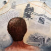 painting of roger britten staring at his life laid out like a map