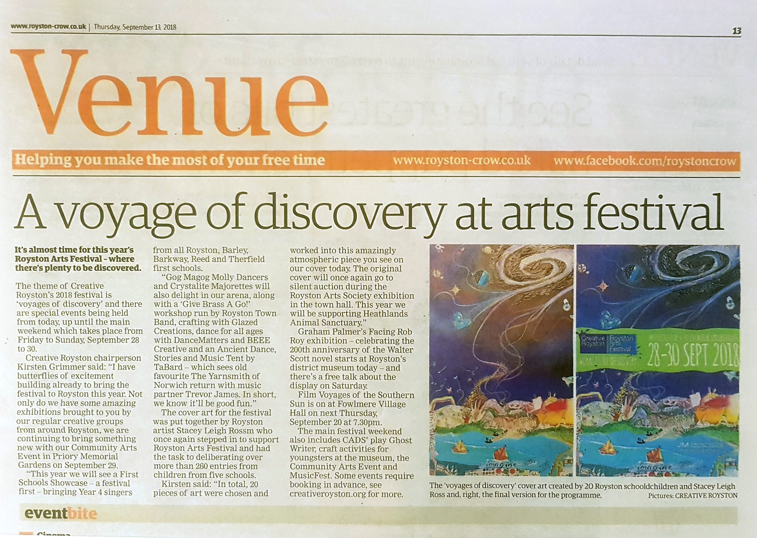 Royston Crow article featuring by Leigh's commission for Royston Arts Festival 2018