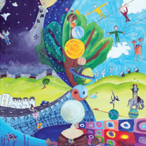 Mixed media painting combining 20 children's interpretation of the theme – A Question of Balance. Children's contributions include: circus acts, athletes, designer neighbourhoods, a stack of planets, weighing up heart and head, various religions and more.