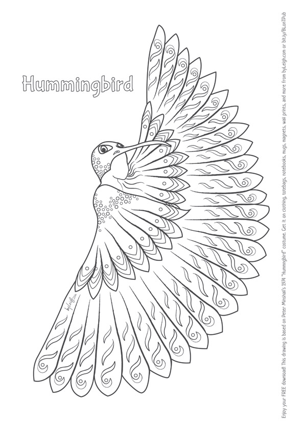 black and white colouring in image of a girl in a hummingbird costume