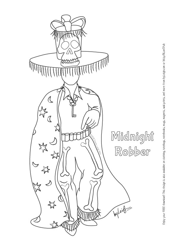 black and white line drawing of the Midnight Robber traditional Carnival Costume. He wears a giant skull top hat with a fringe and cape with moons and stars all over it.