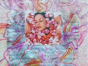 Cropped version of sketchbook collage, ink & sharpies piece showing lots of soft coloured flower petals around the image of a woman's face which is buried among flower petals in a bath