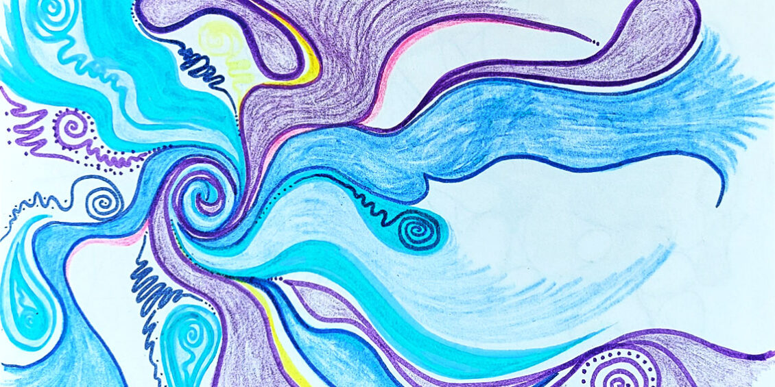 Blue and purlple swirling lines with flourescent yellow and pink highlights