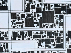 black and white squares and rectangles of all sizes