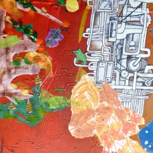 Close up of this Mixed media painting moving through the four seasons and showing artwork from 20 children around the theme 'Changes'. Shown here are close ups of a tree in various seasons and the pipes, valves and cogs of a steampunk engine.