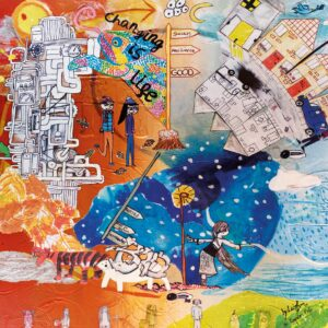 """Mixed media painting moving through the four seasons and showing artwork from 20 children around the theme changes. Their interpretations include a colourful diverse Union Jack, A chameleon saying """"Changing is Life"""", a steampunk engine churning away, endangered animals and neighbourhoods going from 'good' to 'bad'."""