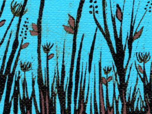 silhouette of tall grass stalks with brown accents against a bright blue background