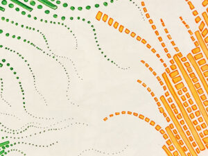 green wiggly lines of dots reach out to straight and slightly curved lines made from squares