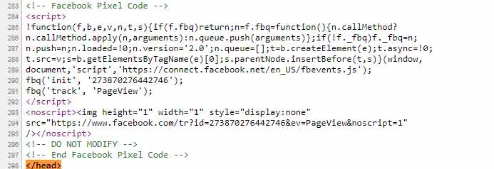 Face Pixel base code just before the closing </head> tag