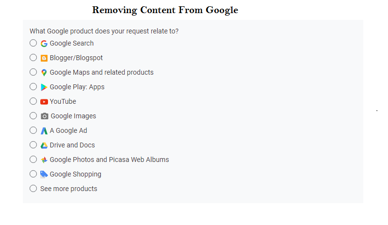how to Removing Content From Google