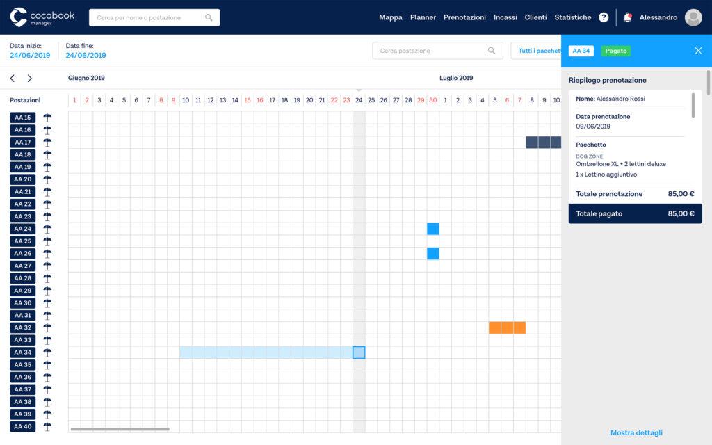 planner cocomanager con visualizzazione di prenotazioni di luglio