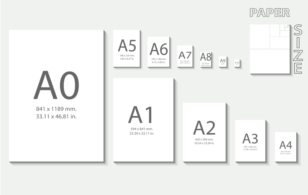 Standard paper size in cm and inch