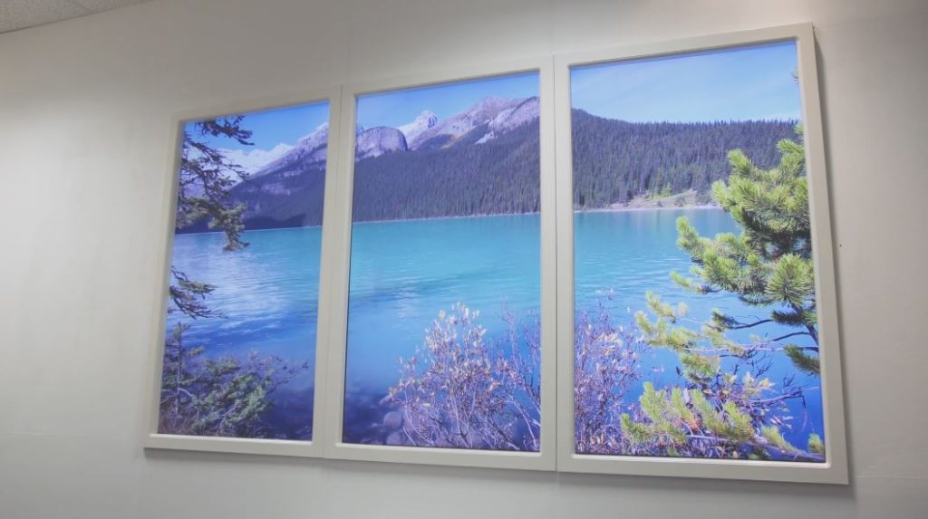 Artificial window with virtual window scenery