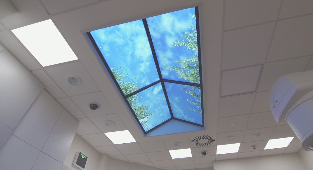 LED sky ceiling panels with cloud scene
