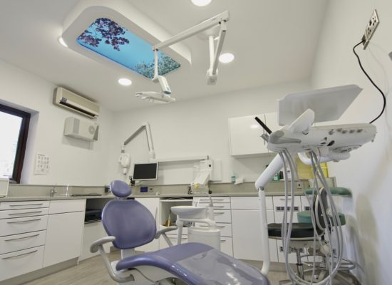 Dentist surgery room brightened interior with artificial skylight