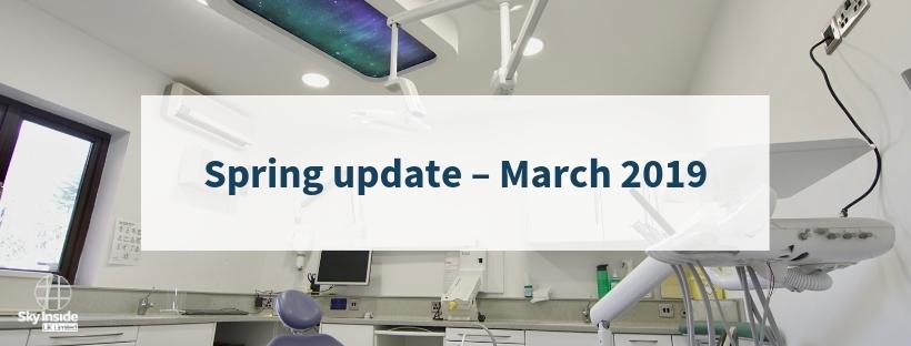 Sky Inside Spring update 2019 with image of sky ceiling in Tadley Dental Care