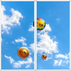 Fake windows for ceiling with hot air balloons and clouds