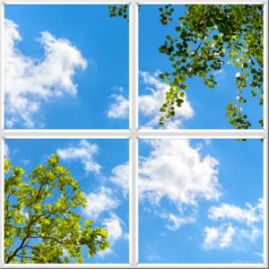 LED sky ceiling panels uk blue sky clouds and foliage