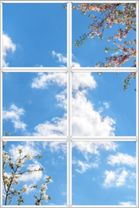 Series of panels to create an impression of a fake window for the ceiling