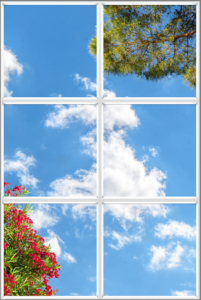 Luminous sky ceiling window panels with red flowers and trees