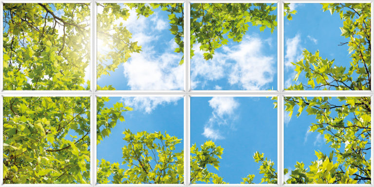 Sunlight and sky imagery for relaxing faux window for interior