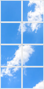 Improve a dark or windowless room with artificial cloud ceiling panels