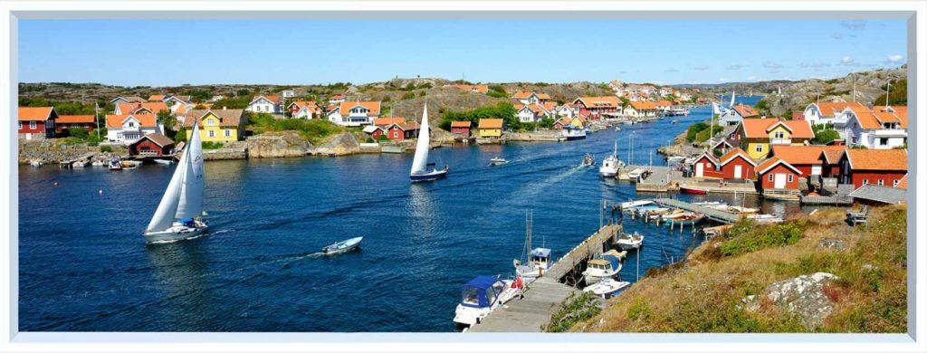 1 panel landscape window with boats on water near village