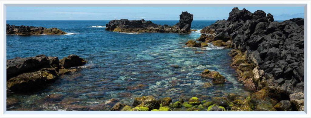 1 panel landscape window with rocks in sea bay