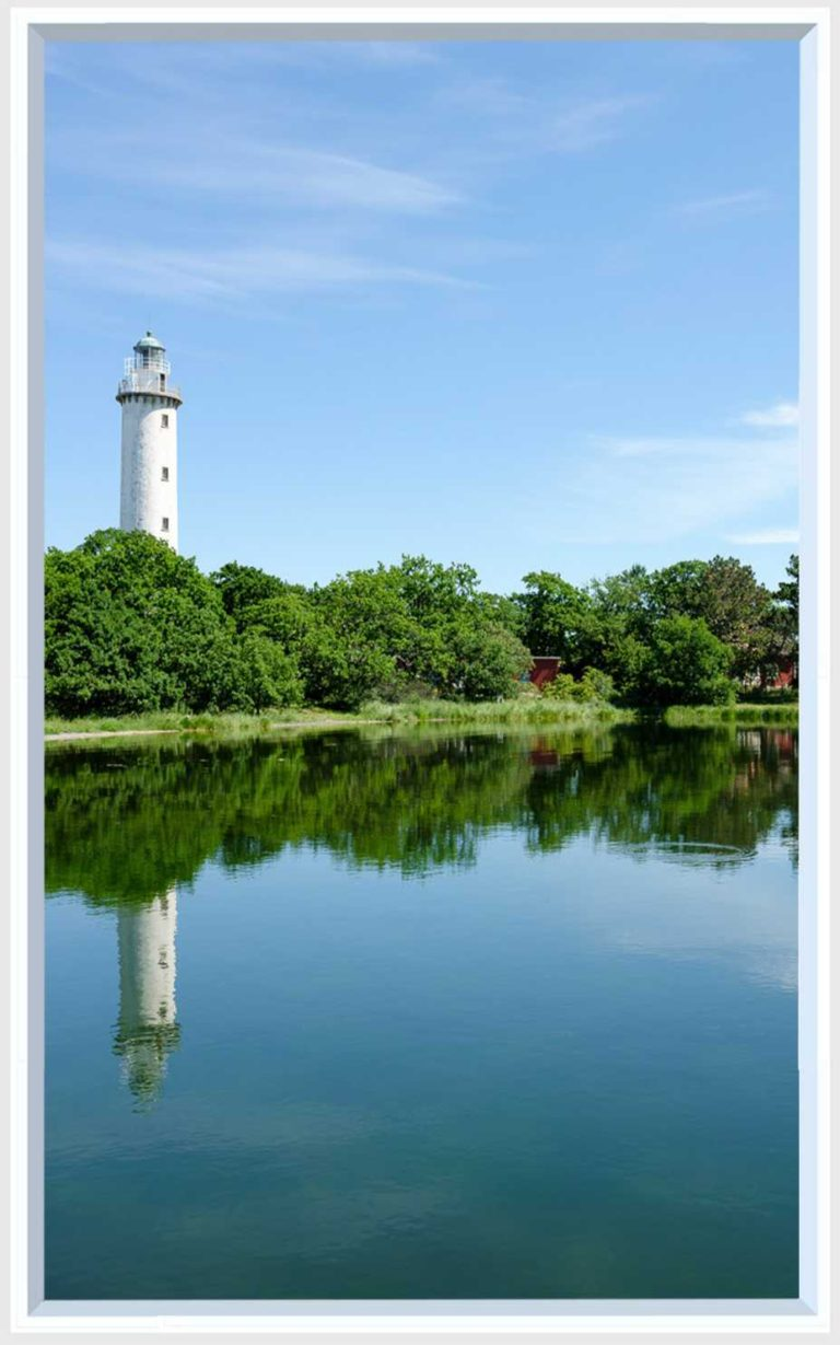 1 panel landscape window with waterfront and lighthouse