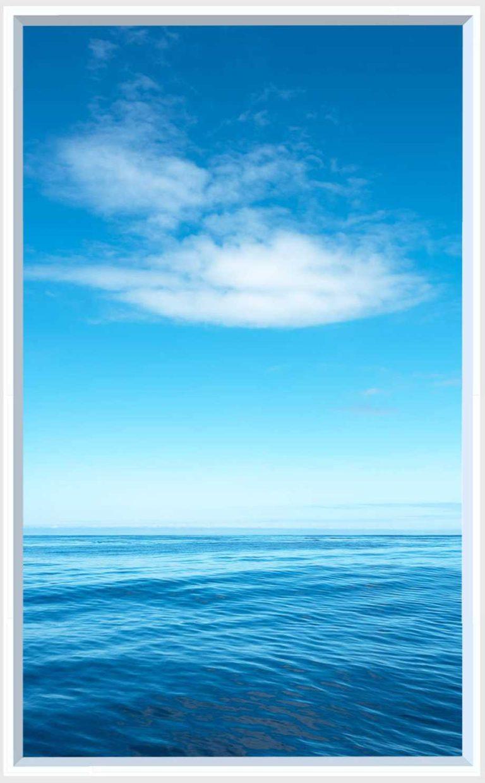 1 panel landscape window with still blue sea