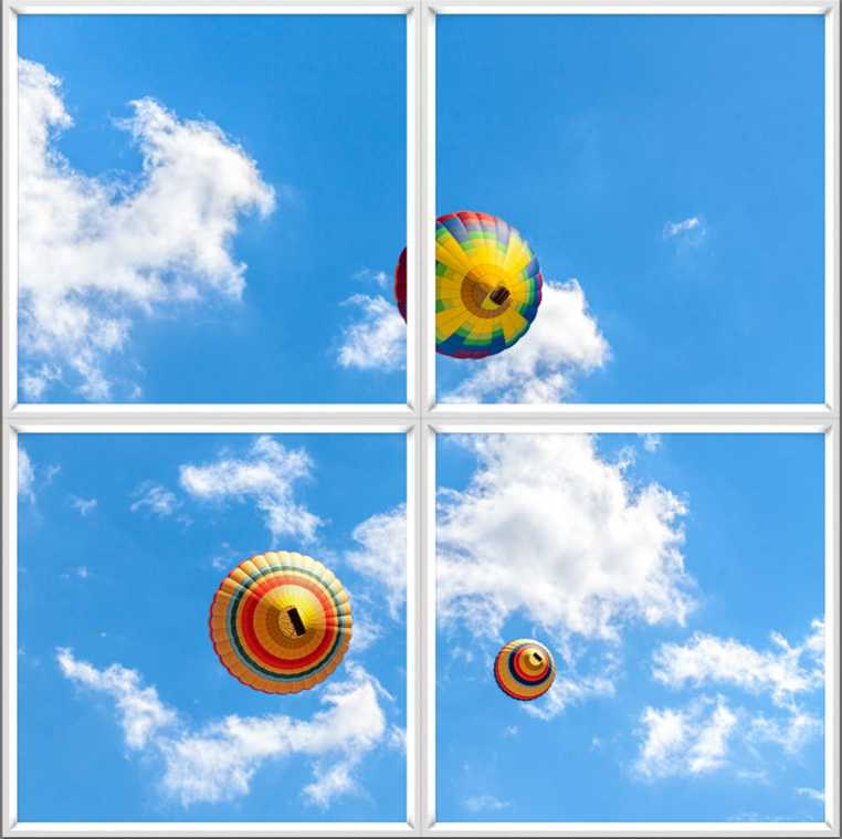 Square 4 panel window, with blue skies and hot air balloons