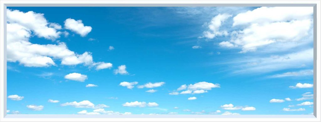 1 panel landscape window with blue sky and clouds