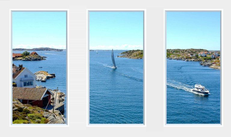 3 panel landscape window with boats on bay