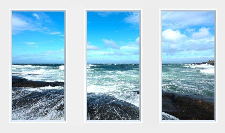 3 panel landscape window with waves under blue sky