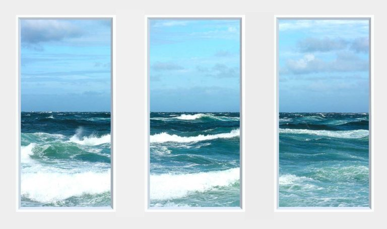 3 panel landscape window with big waves
