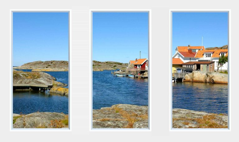 3 panel landscape window with fishing vilalge