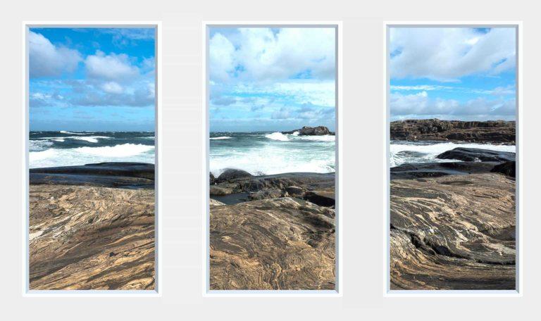 3 panel landscape window with waves crashing onto rocks