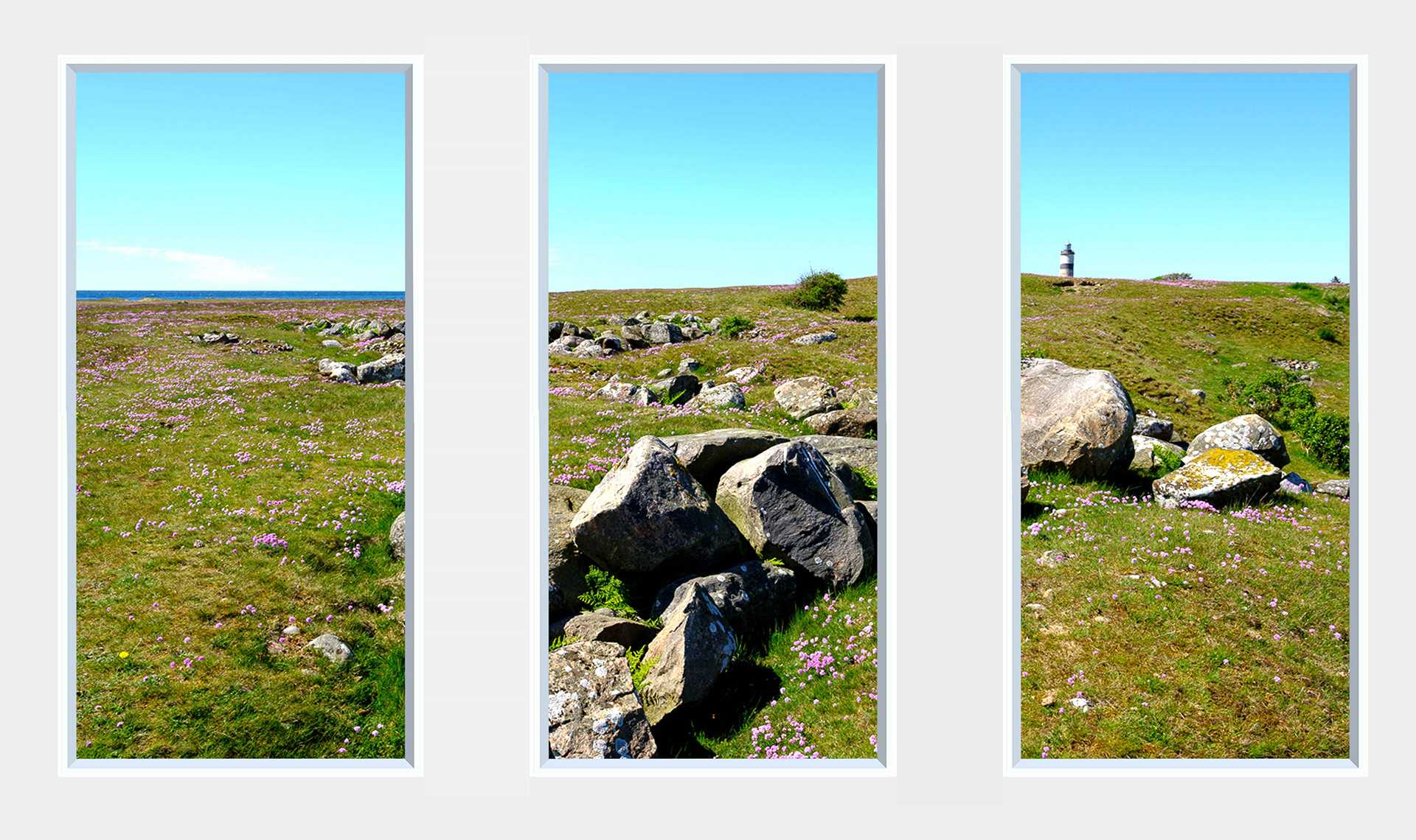 3 panel landscape window with rocks, grass and lighthouse