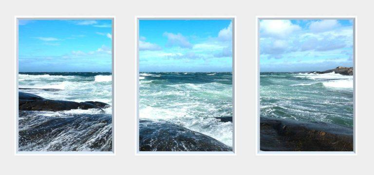 3 panel landscape window with waves crashing on rocks
