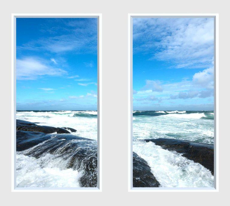 2 panel landscape window with waves crashing on rocks