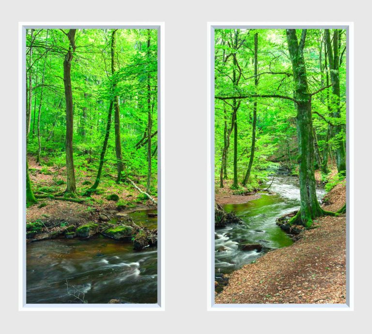 2 panel landscape window with green forest and stream
