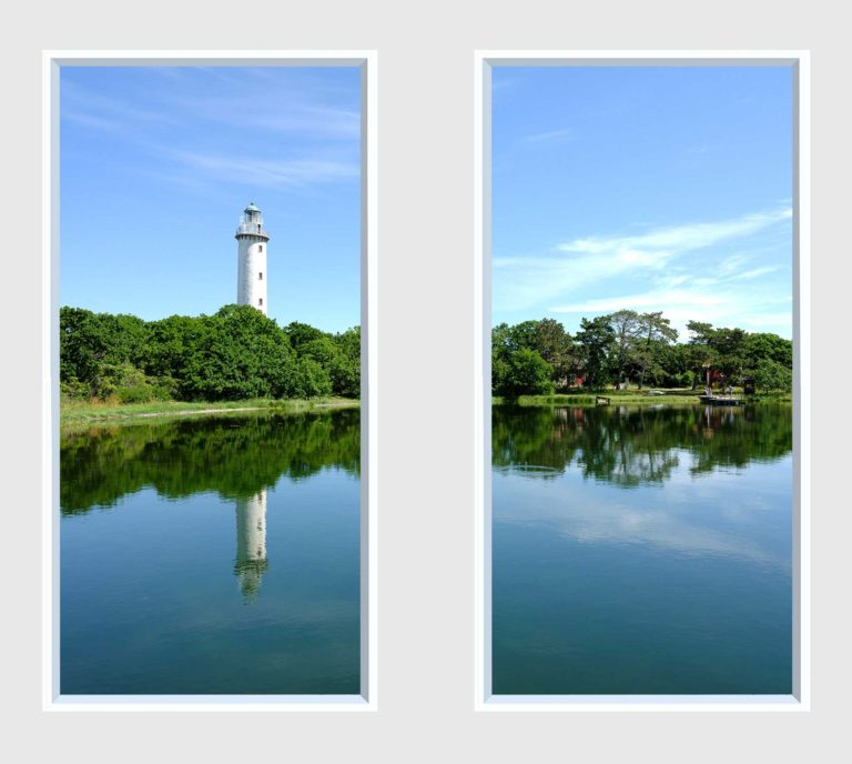 2 panel landscape window with water view and lighthouse