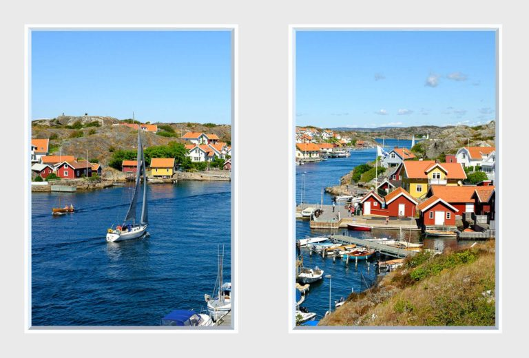 2 panel landscape window with boats on water near village