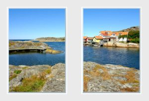 2 panel landscape window with fishing village