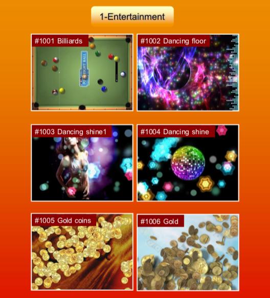 'Entertainment' options: #1001 Billiards; #1002 Dancing floor; #1003 Dancing shine1; #1004 Dancing shine; #1005 Gold coins; #1006 Gold