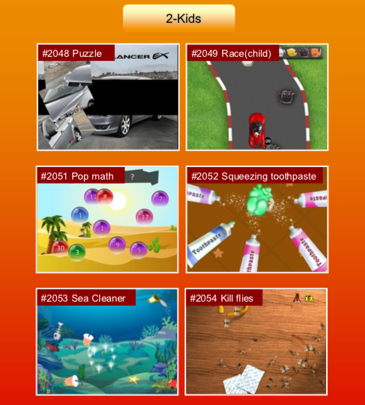'Kids' options: #2048 Puzzle; #2049 Race (child); #2051 Pop math; #2052 Squeezing toothpaste; #2053 Sea Cleaner; #2054 Kill flies